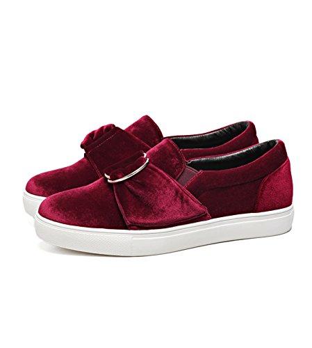 Eshion Dames Comfort Lederen Mocassins Loafers Flats Slipper Schoenen Wijnrood