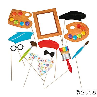 Little Artist Party Photo Stick Props - 12 pc (Artist Birthday Party Decorations)