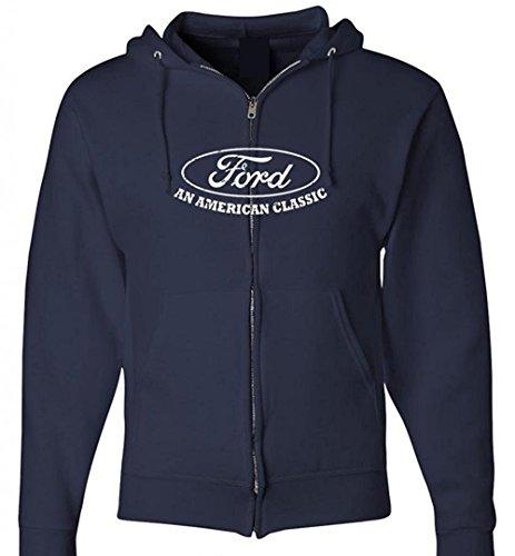 Ford Hoodie Ford an American Classic Car Full Zip Hooded Sweatshirt, Navy, Med Blue Car Zip Hoodie