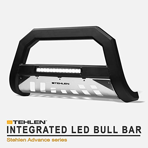 06 Bull Bar - Stehlen 733469494140 Advance Series Aluminum LED Bull Bar - Matte Black/Brush Aluminum Skid Plate For 99/00-06 Toyota Tundra / 01-07 Sequoia