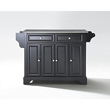 Crosley Furniture LaFayette Stainless Steel Top Kitchen Island - Black
