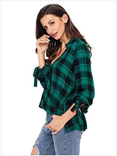 Slim Manches Chemisiers Large Long Top Mode Blouse Dame Printemps Chemisier Cordon Chemise Trendy De Carreaux Cou V Serrage Gr Casual Elgante Battercake avec Blouse Fit Femme Xq6P6w07