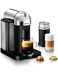 Nespresso Vertuo Coffee and Espresso Machine Bundle with Aeroccino Milk Frother by Breville, Chrome