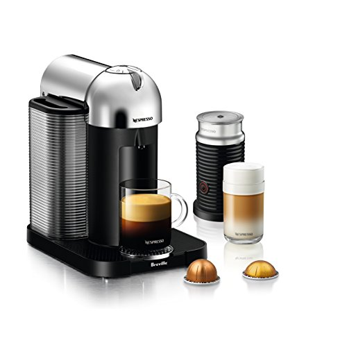 Nespresso Vertuo Coffee and Espresso Machine Bundle with Aeroccino Milk Frother by Breville, Chrome ()
