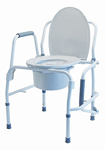 Medichoice Drop Arm Commode  Snap On Seat  Adjustable  Steel Frame  18 75 To 22 75  2867Comm6002  Each Of 1