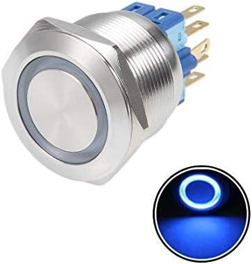 uxcell 押しボタンスイッチ プッシュボタンスイッチ ラッチング自己ロック 取付穴径22mm 5A 12V ブルー ラッチング 22mm 5A 12V ブルー フラットヘッド