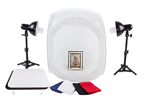 "Fovitec StudioPRO 24"" Photo Studio Portable Table Top Product Photography Lighting Tent Lightbox Kit - Includes 4 x Backdrops, 2 x Light Stands, 2 x Magnetic Display Tables, 2 x 30W Daylight Fluorescent Bulbs"