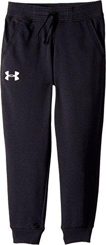 Under Armour Kids Boy's Cotton French Terry Joggers (Big Kids) Black/Green Typhoon/White Large