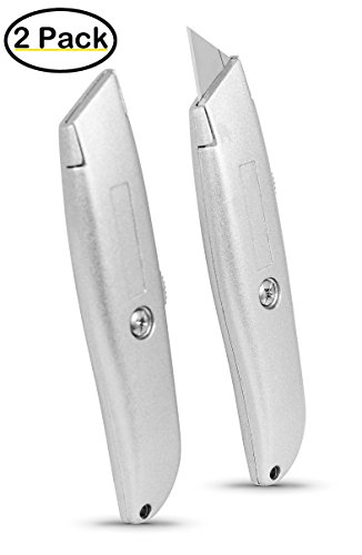 Internet's Best Classic Utility Knife | Set of 2 | Retractable Razor Knife Set | Extra Blade Refills | Box Cutter Locking Razor Knife | Full Metal Body
