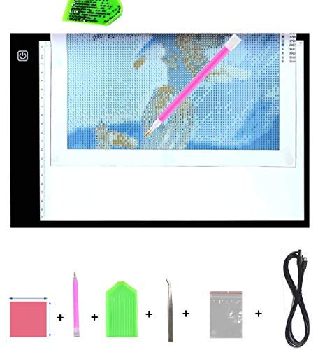 Diamond Painting A4 LED Light Pad Board Tablet Ultrathin Dimmable Apply To Full Drill Partial Drill 5D Diamond Painting Rhinestone Embroidery Dots Cross Stitch By Number Kit ()