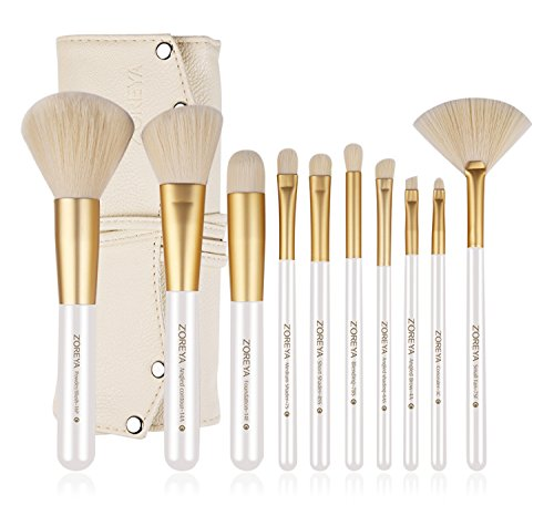 ZOREYA Makeup Brushes 10 piece Gold Professional Makeup Brush Set with Brush Holder Case Contains Concealer Brush Contour Powder Foundation Angled Face Lip Brush (Set Case Cosmetic)