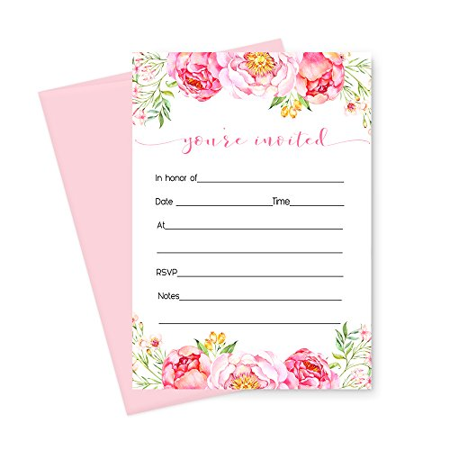 Floral Invitations (Floral Invitations (Fill In) Set of 15 with Pink Envelopes)