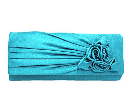 Soirée de Fête Clutch de Sacs Dîner Fleur bleu Mariée Sac Femmes pour Rose main à 4xTwFqXYH