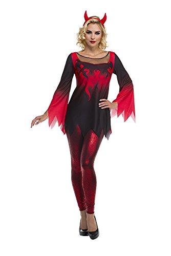 [Palamon Women's Devil Costume, Red, Small] (Devil Halloween Costumes For Women)
