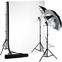 LimoStudio Photo Studio 10x10 Muslin Black White Backdrop Support Kit 700W 33 Black Silver Umbrella Light Kit, LMS712