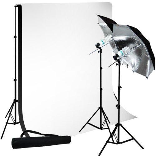 LimoStudio Photo Studio 10'x10' Muslin Black White Backdrop Support Kit 700W 33'' Black Silver Umbrella Light Kit, LMS712 by LimoStudio