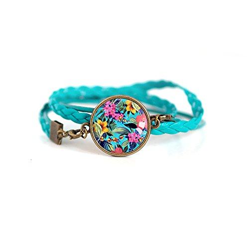 Bracelet turquoise double braid, Tropical Cabochon, jungle, multicolor, ()