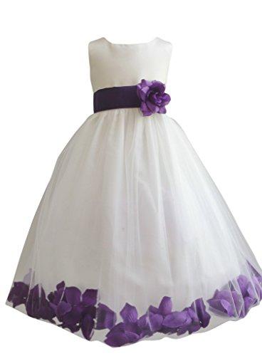 Ivory Eggplant (Wedding Pageant Flower Petals Girl Ivory Dress Paperio - Size Purple Eggplant 6)