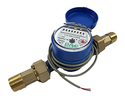 "DAE AS200U-75P Water Meter with Pulse Output, 3/4"" NPT Couplings, Measuring in Gallons"