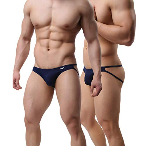 Men's Jockstraps Underwear Male G-strings Thongs Athletic Supporter Briefs (Navy, Large)