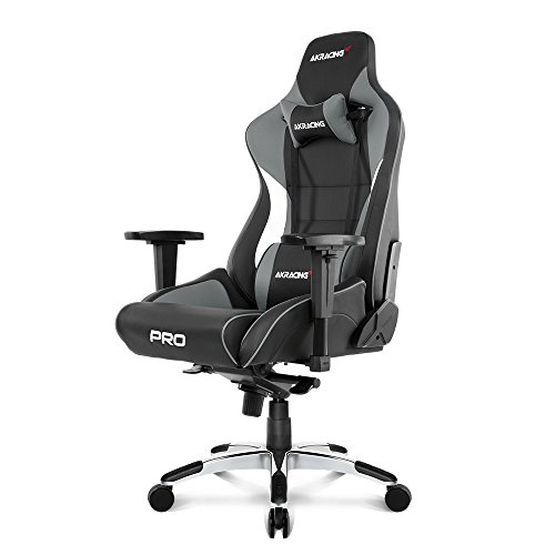 AKRacing Masters Series Pro Luxury XL Gaming Chair with High Backrest, Recliner, Swivel, Tilt, 4D Armrests, Rocker & Seat Height Adjustment Mechanisms, 5/10 Warranty - Grey