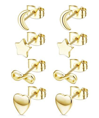 JOERICA 4 Pairs Heart Stainless Steel Stud Earrings for Women Girls Star Earrings (G:Golden) ()