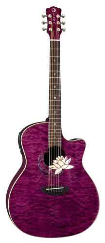 Luna Flora Lotus Acoustic Guitar, Tranz Plum/Quilted for sale  Delivered anywhere in Canada