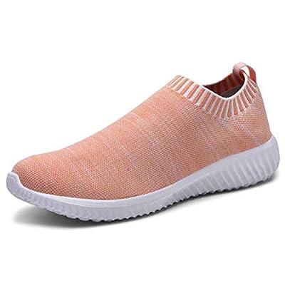 konhill Women's Walking Shoes Lightweight Athletic Comfortable Slip on Sneakers 5 US Pink, 35