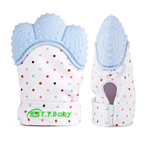 Baby Teething Mitten for Babies Self-Soothing Pain Relief and Teething Glove BPA Free Safe Food Grade Teething Mitt (Blue Color)