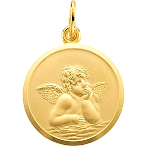 Round St. Raphael Medal, 14k Yellow Gold (18MM) by The Men's Jewelry Store (Unisex Jewelry)