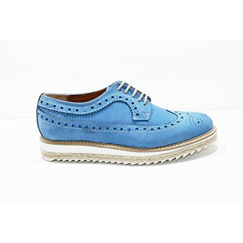 Madò Stringate Modello Inglesina in Pelle nabuk Scarpe Artigianali Donna di Colore Blu Jeans in Camoscio Shoes Lace-Up Calzature Made in Italy