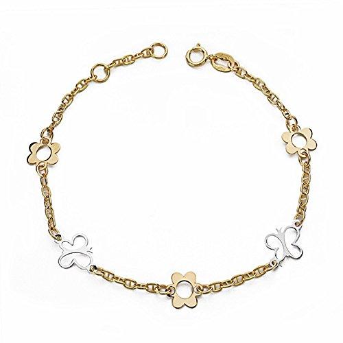 Bracelet 18k gold 18cm bicolor. raisons [AA1702]