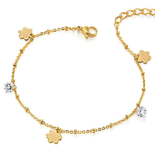 COOLSTEELANDBEYOND Stainless Steel Gold Color Anklet Bracelet with Dangling Charms of Flower and Cubic ()