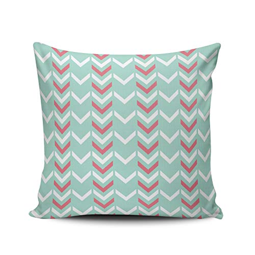 - XIUBA Throw Pillow Covers Case Mint and Turquoise Mint Green Geometric Chevron Arrows Pattern Decorative Pillowcase Cushion Cover 20 x 20 inch Square Size One Side Design Printed