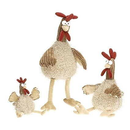 RF Collection loco de pollo de gallina de gallo de peluche de tela de sentado en