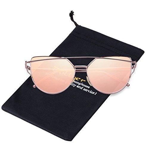 Cat Eye Sunglasses for Women Rose Gold Metal Frame Mirrored Lens Double Bridge (Rose Gold Bridge)
