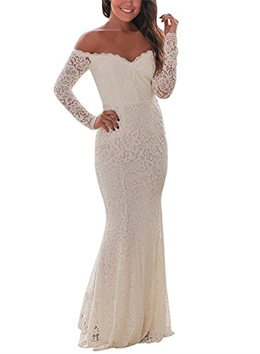 BeneGreat Women's Long Sleeve Elegant Lace Evening Mermaid Maxi Foraml Party Dress White XL