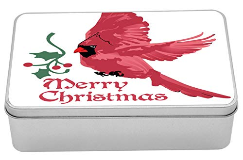 Lunarable Cardinal Tin Box, North American Bird with Holly Berry Silhouette Aquarelle Animal Design, Portable Rectangle Metal Organizer Storage Box with Lid, 7.2
