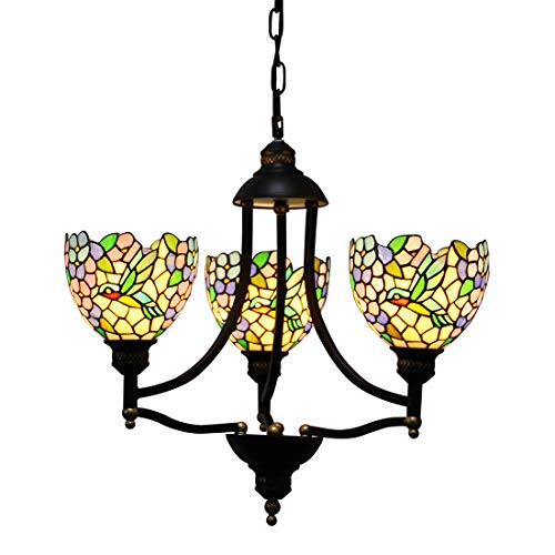 Makenier Vintage Tiffany Style Stained Glass Wisteria Humming Bird 3 Arms Wrought Iron Art (Wisteria Three Light Chandelier)