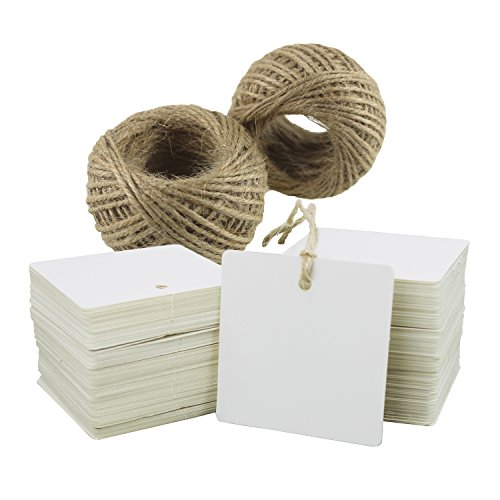 Paper Tags 200 PCS Square Kraft Gift Tags Blank Label with Jute Twine for Handmade Party Favors as Thank You Card Vintage Brown Price Tags (White)