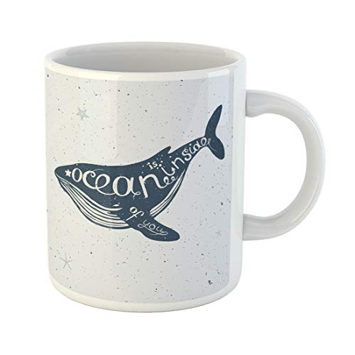 Semtomn Funny Coffee Mug Sea Lettering Nautical Collection Big Blue Whale Silhouette Scribble 11 Oz Ceramic Coffee Mugs Tea Cup Best Gift Or Souvenir