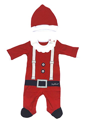 Baby Christmas Outfit Santa Suit Xmas Costume Bodysuit with Hat, 6-12M (Baby Santa Outfit For Boy)