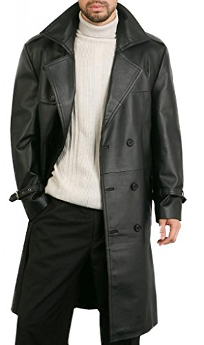 DashX Men's Classic Leather Trench/Long Coat,Large (Leather Trench Mens Long Coat)