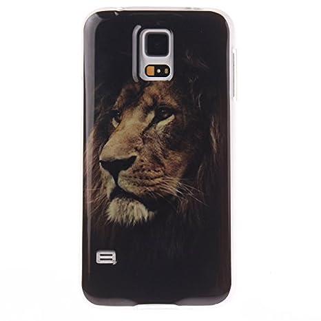 Guran® Silicona Funda Carcasa para Samsung Galaxy S5 Smartphone Case Bumper Shock TPU Cover-León