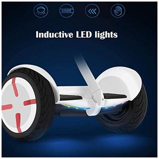 ZEH 10 Pouces Intelligent Hoverboard avec Foot Pole, Auto-Balacing Scooter électrique for Adultes et Enfants, Balancing Voiture, Bluetooth/LED Lights/Charger 120KG / sans Pilote FACAI