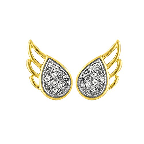 Real Diamond Earring for Women Angel Wings Design 925 Sterling Silver Yellow Plating Diamond Accents (.04cttw, I-J Color, I2-I3 (Diamond Wing Earrings)