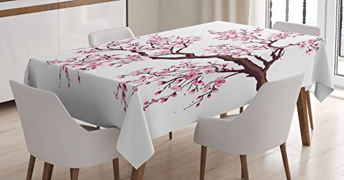 Ambesonne Japanese Tablecloth, Branch of a Flourishing Sakur