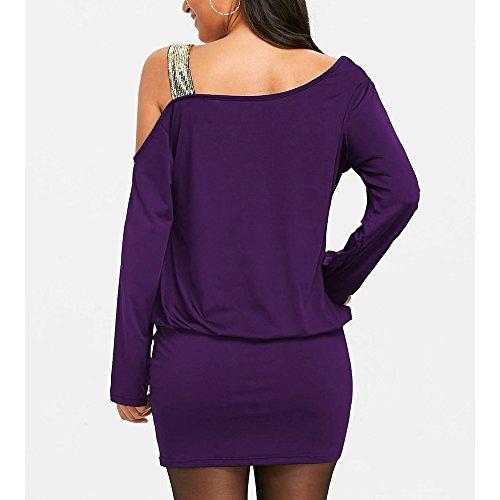 ns Sexy Strapless Cold Shoulder Sequins Bling Mini Blouson Dress(XX-Large,Purple) ()
