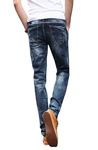 YPtong Blu Jeans Uomo Skinny Elasticizzati Calzoni Stretti Pants Vita Alta Invernali Denim Pantaloni Slim Fit Straight