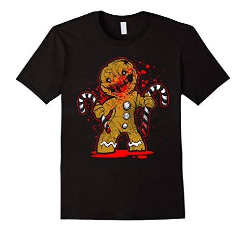 [Men's Scary Zombie Gingerbread Man T-shirt Small Black] (Spawn Costume For Adults)